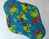Sanitary Pad Mama Pad Mama Cloth Reusable Menstrual Pad with PUL lining teal musical frogs - size L / L Plus