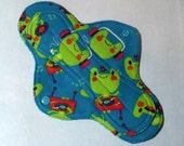 Menstrual Pad Mama Pad Mama Cloth Reusable Sanitary Pad teal blue green musical frogs - size SMALL/MEDIUM