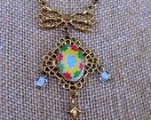 Vintage Lavalier Drop Pendant Porcelain floral Brass Bow with drop glass beads