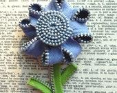 Periwinkle Vintage Zipper Flower Brooch