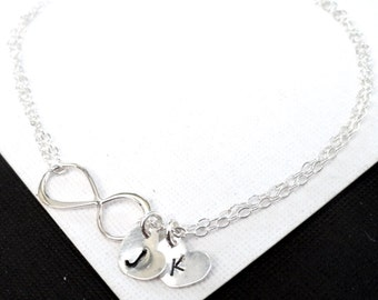 infinity bracelet, Personalized bracelet, Sterling Silver Infinity Bracelet, initial bracelet, sisters bracelet, mothers bracelet