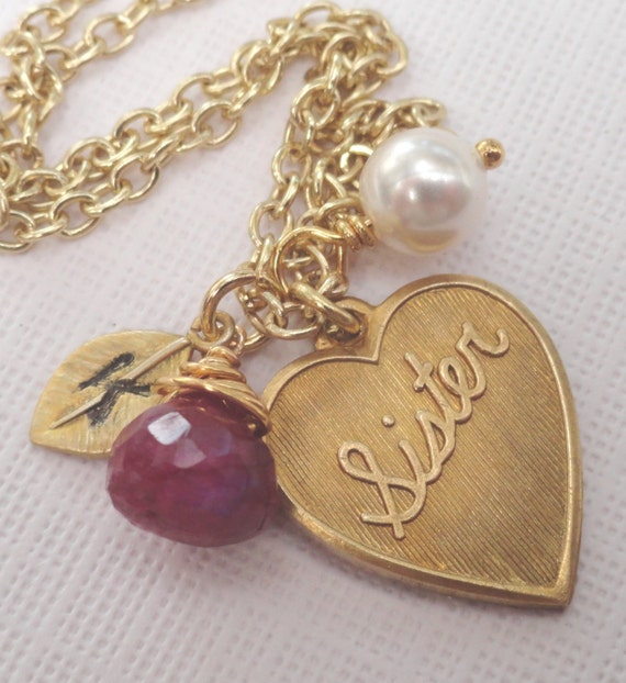 Personalized Sister Gold Necklace Ruby Necklace Monogrammed Initial Of Your Choice