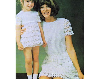 INSTANT DOWNLOAD PDF Vintage Crochet Pattern   Mother and Daughter Couture Mini Midi or Maxi Dress  Retro