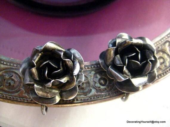 Antique Rose Earrings Sterling Silver 925 7g Screw Back On