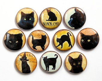 Black Cats - Set of 10 Pinback Buttons Badges 1 inch