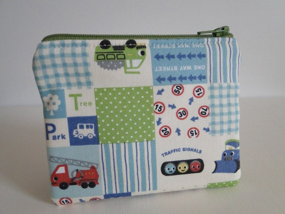 Free shipping - Mini zipper pouch or change purse - Little cars - Japanese fabric