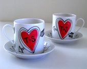 Love Mugs Set Ceramic Cappuccino Cups Heart Arrow Initials Customize Personalize Black White Red - larger sized version of espresso set