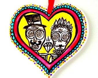 Heart Ornament Painted Ceramic Sugar Skulls Love Bride Groom Folk Art Day of the Dead Calavera Black White Red Yellow Anniversary Wedding