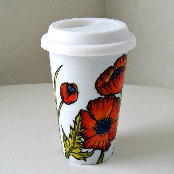 Ceramic Travel Mug Red Poppies Flowers Fall Autumn Orange Hand Painted Illustrated Botanicals Eco Friendly Porcelain Tumbler - MADE TO ORDER