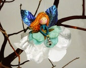 Winter Angel Ornament, Silver and Blue Angel Doll Miniature, Flower Blue Fairy Christmas Gifts, Angel Holiday  Decoration