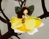 Yellow Christmas Angel Ornament Doll, Yellow Fairy Ornament, Holiday Fairy Angel, Christian Christmas, Flower Angel Doll Ornament