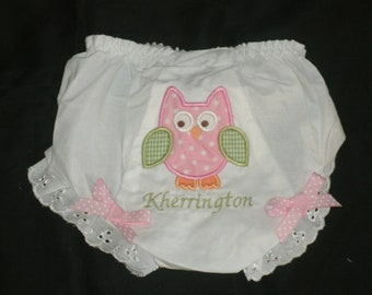 Owl Diaper Cover Bloomer Monogram Personalized