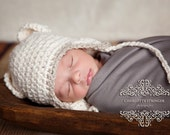 Organic Earflap Hat - Baby Boy Hat - Fair Trade Baby Gift - White and Grey - Organic Earflap Bear Beanie in Snow and Soft Grey