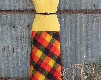 1970s Maxi Skirt - Bold Plaid Maxi Skirt in Yellow, Red and Black - Bohemian Plaid - Boho Skirt - Retro - Vintage 70s - 22 Waist