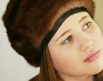 1960s Fur Hat - Mink Turban - By Hudson's Bay Company - Brown Mink - Genuine Fur - Vintage Mink Fur - Fur Accessory