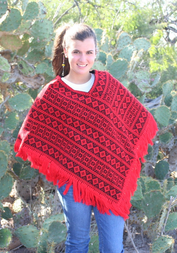 The Henrietta - Rockabilly - Bohemian - Boho - Hippie Girl - Poncho - Circa 1970s - Folk - Mexican - Ranch Wear