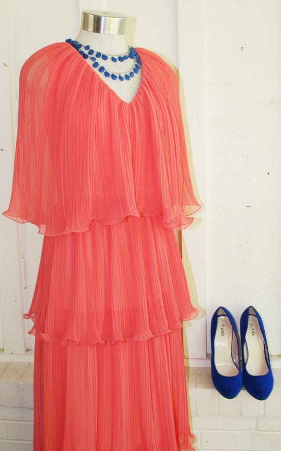 Its Always Summer in Vegas - Sherbert - Coral - Peach - Orange - Evening Gown - Cocktail Dress - Wedding - Prom - Circa 1960-70's
