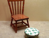 Dollhouse Miniature Upholstered Foot Stool with Holly and Berries Footstool 1:12 scale
