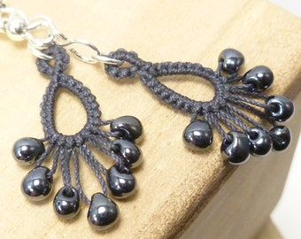 Tatted Earrings with glass fringe beading -Flash Drips MTO many color options
