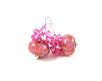 Pink Crystal Earrings, Pink Purple Earrings, Cluster Earrings, Boro Lampwork Earrings, Glass Earrings, Beadwork Earrings Strawberry Smoothie