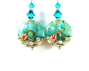 Ocean Earrings, Teal Earrings, Beach Earrings, Wave Earrings, Lampwork Earrings, Glass Earrings, Summer Earrings, Beach Jewelry  The Sea GRJ