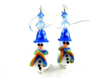 Snowman Earrings, Christmas Jewelry, Christmas Earrings, Blue White Lampwork Earrings, Holiday Earrings, Snowman Jewelry - Chilly & Snowy