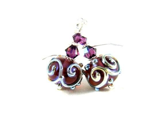 Purple Glass Earrings, Simple Jewelry, Lampwork Earrings, Amethyst Earrings, Drop Earrings, Dark Purple Earrings, Dangle Earrings - Rhapsody