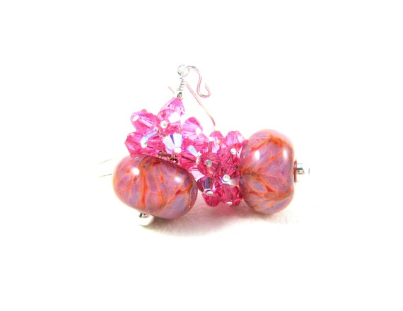 Pink Crystal Earrings, Pink Purple Earrings, Cluster Earrings, Boro Lampwork Earrings, Glass Earrings, Beadwork Earrings Strawberry Smoothie