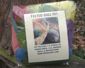 Large Felted Ball Kit--Plant Dyed Wool, 2 Wooden Balls, and Instructions