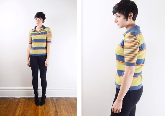 1970s Knit Collared Shirt - XS/S