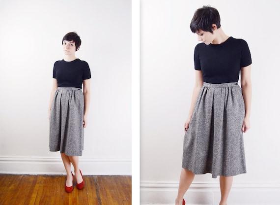 1970s Salt and Pepper Pendleton Wool Skirt - M