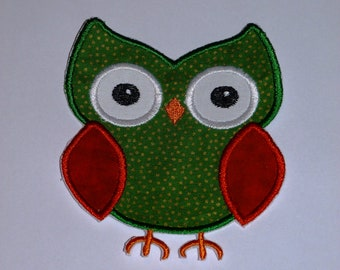 """Embroidered Iron On Applique- """"Christmas Owl"""""""