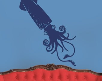 squid wall decal art, cephalopod sticker art, tentacles, nautical wall decal, undersea wall decal, FREE SHIPPING