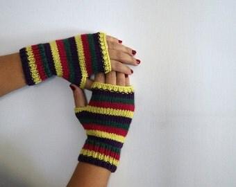 guanti senza dita multicolori a strisce