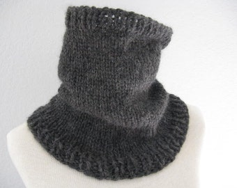 Neck Warmer Scarf. Hand Knit Cowl, Circle Scarf, Infinity Scarf in Charcoal Gray Baby Alpaca.