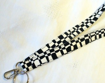 Black White Fabric Lanyard Badge Holder Breakaway Lanyard Luella Doss Hot Flash ID Clip Key Fob OP CHECK Designer Fabric