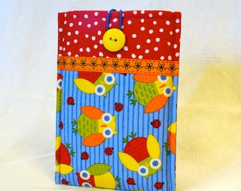 SALE KINDLE FIRE Sleeve Ereader Case Kindle Keyboard Cover Padded Sleeve Ready to Ship Colorful Owls Red Blue Yellow