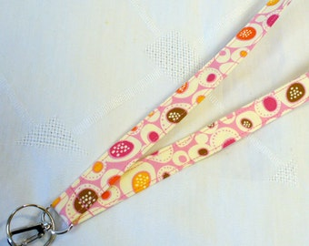 Fabric Lanyard Badge Holder Breakaway Lanyard Designer Fabric ID Clip Key Ring Fob Erin McMorris Pepples Pink Orange Brown MTO