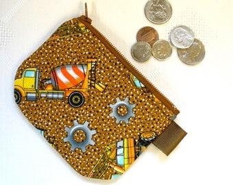 Boys Coin Purse Construction Mini Coin Purse Little Zipper Change Purse Bulldozer Cement Truck Handmade MTO