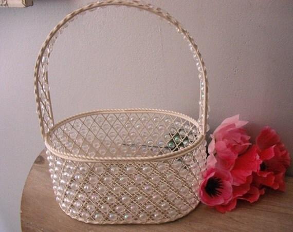 RESERVED for Brittany.......Stunning beaded wire Flower girl basket ... wedding basket .... decoration