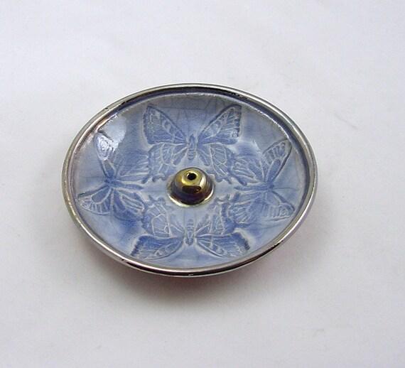 Butterflies Raku Incense Burner Handmade Pottery
