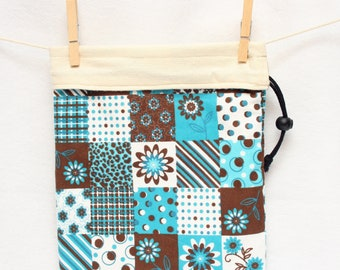 Knitting Project Bag, Teal, Brown, White and Cream, Flowers and Dots, Large