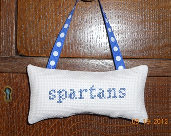 Spartans Cross Stitched Hanging Pillow