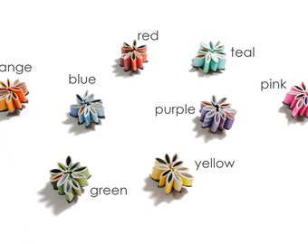 stemless wine charms, set of 8- made from magazines, colorful, orange, red, blue, green, yellow, teal, pink and purple