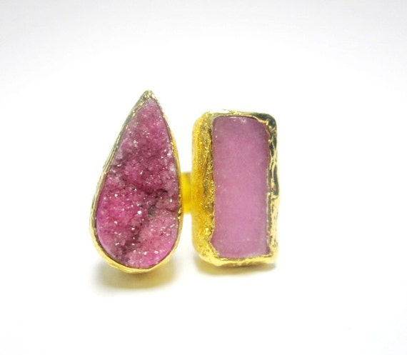 Hot Pink Druzy Ring with Pink Quartz Gemstone Ring Gold Plated ONE OF A KIND