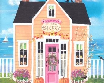 Folk Art Print Yummy Muffin Bakery