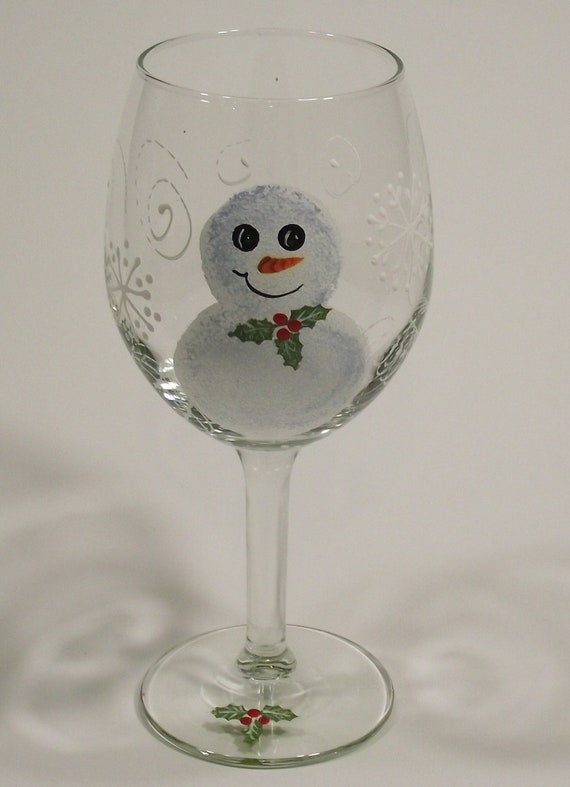 Hand Painted Wine Glasses -  Christmas Holiday Snowman Wine Glass with Holly