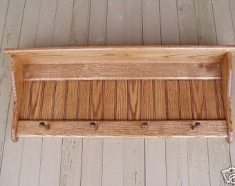 "Wood Coat Rack Country Shaker Shelf Oak 36"" Wall SHelf Hanging"
