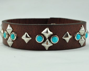 Turquoise and Silver Bracelet with Silver Pyramid Studs, Brown or Black Leather