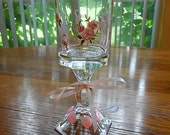 Shabby Chic Tea Light Holder with Pink Roses, Buttons and Bows / Upcycled